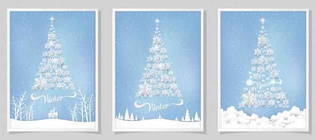 Fundo de cartão de natal com papel cortado floco de neve.