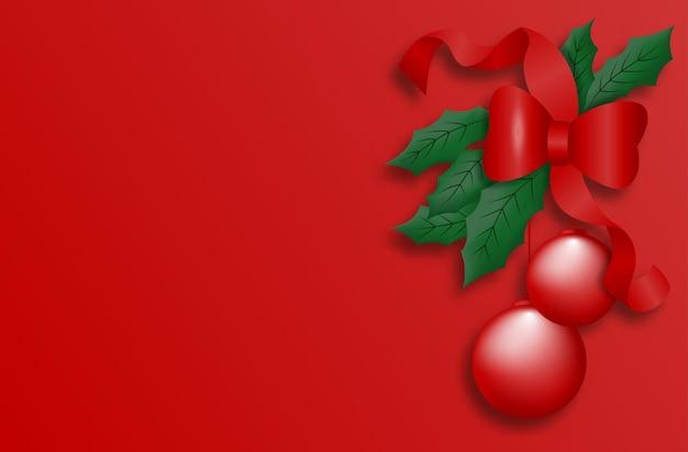 Fundo de cartão de natal ou banner com bolas e fitas