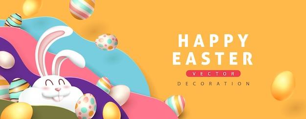 Fundo de cartão de páscoa com coelho fofo e ovos de páscoa coloridos.