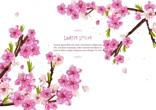 Fundo de cartão de primavera de flores de cerejeira