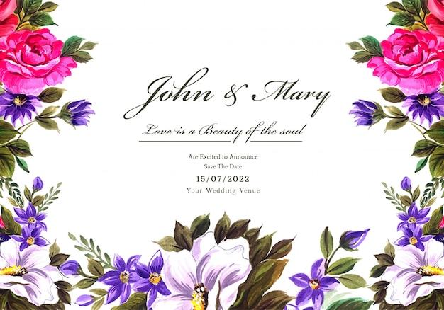 Fundo de cartão de quadro de flores decorativas de casamento