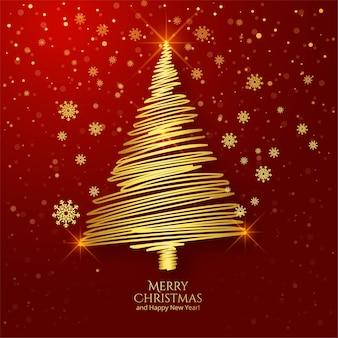 Fundo de cartão de saudação de árvore de natal com contorno dourado