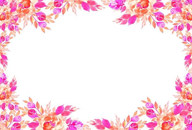 Fundo de cartão decorativo flores em aquarela colorida