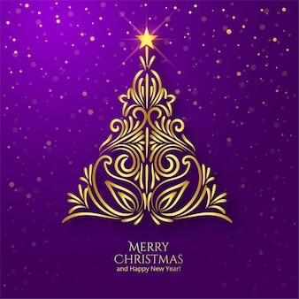 Fundo de cartão dourado floral elegante para árvore de natal