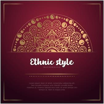 Fundo de cartão estilo étnico com mandala e texto modelo, cor vermelha e dourada