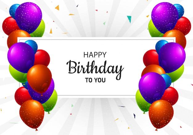 Fundo de cartão realista feliz aniversário balões multicoloridos