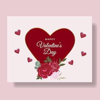 Fundo de cartão romântico feliz dia dos namorados com corações e flores vermelhas
