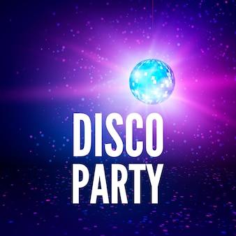 Fundo de cartaz de festa discoteca. cenário de bola de discoteca do clube noturno. ilustração