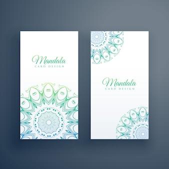 Fundo de cartões brancos de mandala elegante