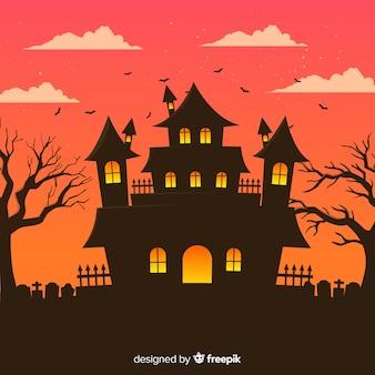 Fundo de casa de halloween com cemitério