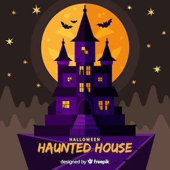 Fundo de casa de halloween com lua cheia