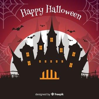 Fundo de casa de halloween em design plano