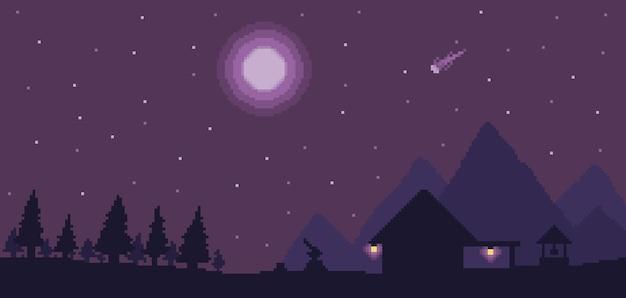 Fundo de casa de lenhador pixel art com pinheiros e montanhas no cenário de jogo de bits do céu noturno