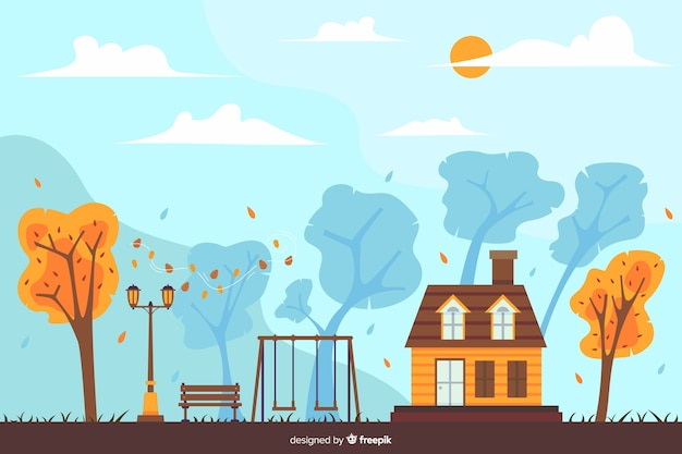 Fundo de casa de outono mão desenhada