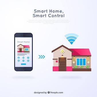 Fundo de casa inteligente com controle de smarthphone