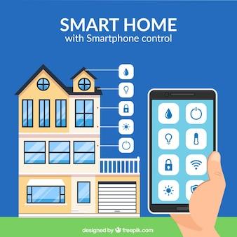 Fundo de casa inteligente com controle de smartphone