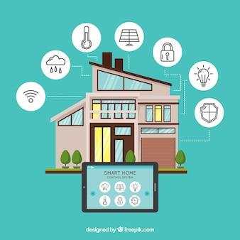 Fundo de casa inteligente com dispositivo