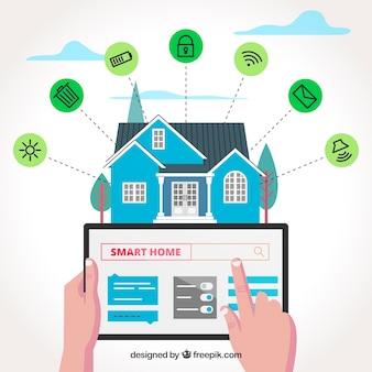 Fundo de casa inteligente com funções