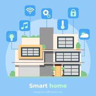 Fundo de casa inteligente com ícones