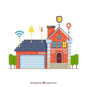Fundo de casa inteligente em estilo simples