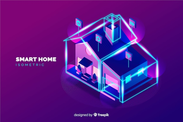 Fundo de casa inteligente isométrica de gradiente