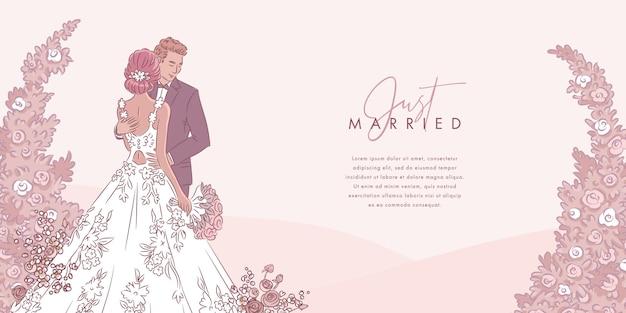Fundo de casal casamento mão desenhada