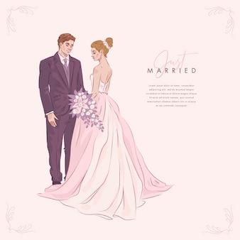 Fundo de casal de noivos desenhado à mão