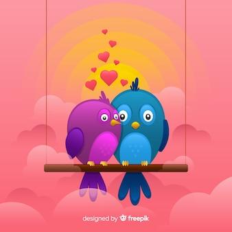 Fundo de casal de pássaros românticos