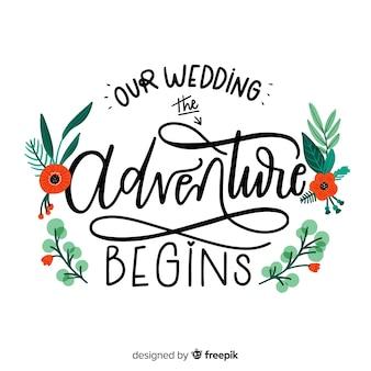 Fundo de casamento caligráfico floral