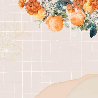 Fundo de casamento de flores, vetor de design estético de borda, remixado de imagens vintage de domínio público