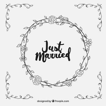 Fundo de casamento de mão desenhada