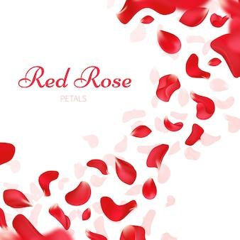 Fundo de casamento romântico com pétalas de rosas vermelhas caindo