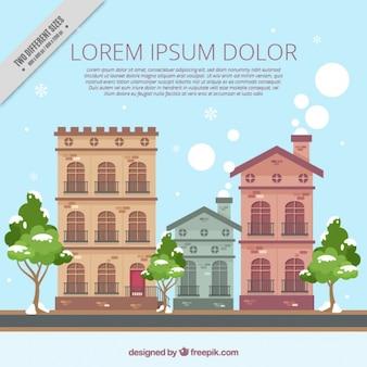 Fundo de casas antigas fachadas em design plano