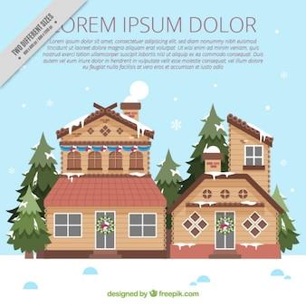 Fundo de casas de madeira muito no design plano