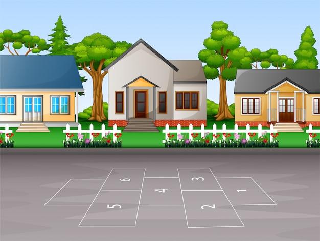 Fundo de casas suburbanas