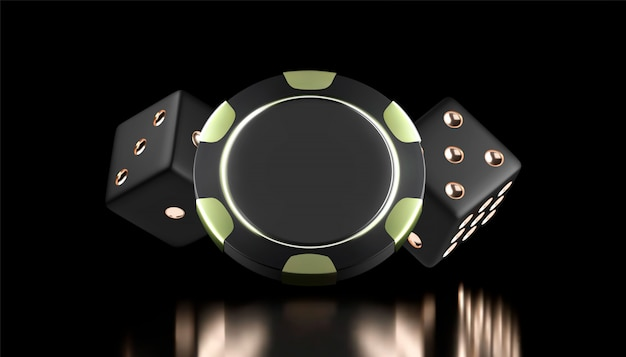 Fundo de cassino. jogo de cassino 3d chips e dados. banner de cassino online. chip realista preto e dourado. conceito de jogo, ícone do aplicativo móvel de pôquer.