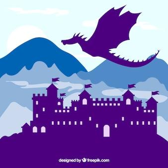 Fundo, de, castelo silhueta, com, dragão, voando