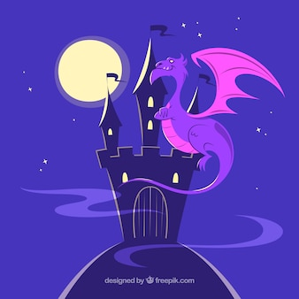 Fundo de castelo silhueta com dragão voando
