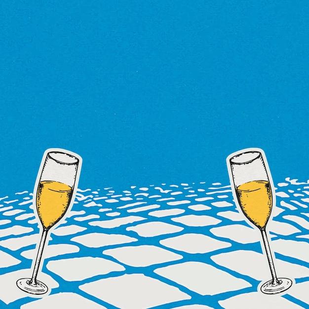 Fundo de celebração azul com taças de champanhe em estilo vintage
