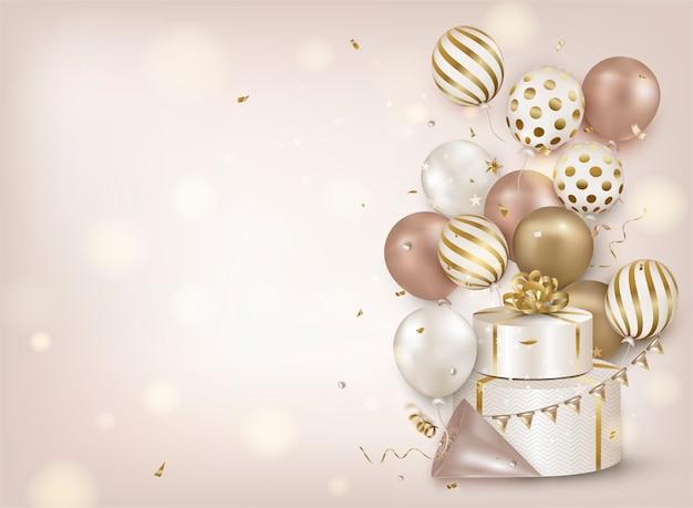 Fundo de celebração com balões de ar ouro, confetes caindo, caixa de presente, luzes em bege.