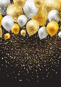 Fundo de celebração com balões e confetes