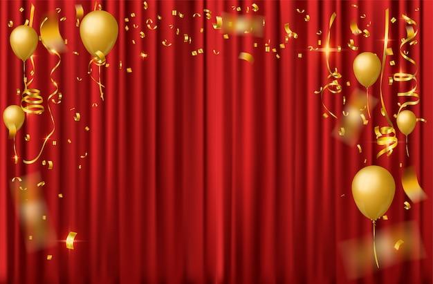Fundo de celebração com confetes caindo de ouro