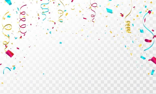 Fundo de celebração com confetes e fitas coloridas.