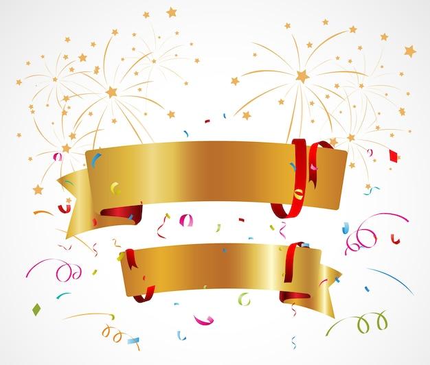 Fundo de celebração com fita e confete