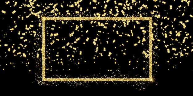 Fundo de celebração com moldura de glitter e confetes ouro