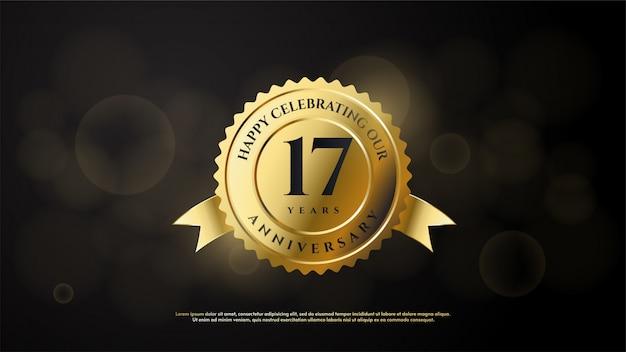 Fundo de celebração. com o número 17 em um emblema dourado.