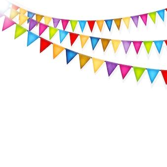 Fundo de celebração com vetor de bandeiras coloridas