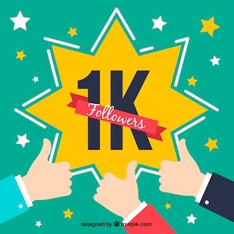 Fundo de celebração de 1000 seguidores com estrelas e mãos