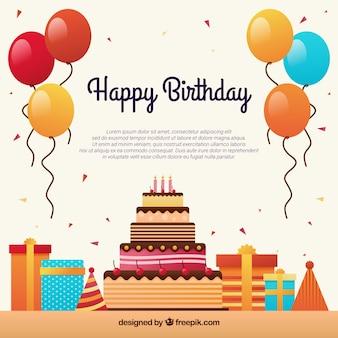 Fundo de celebração de aniversários com balões coloridos