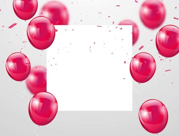 Fundo de celebração de balões rosa